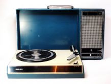 1970s Philips 22GF403 suitcase record player (Aqua Blue)